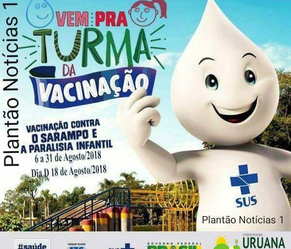 Secretaria de Municipal Saúde realiza Campanha de Vacinação contra Sarampo e Paralisia Infantil.