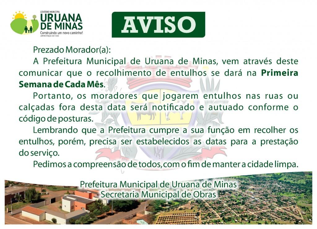 PREFEITURA DE URUANA - AVISO - SECRETARIA DE DE OBRAS - MARÇO 2019 (1)