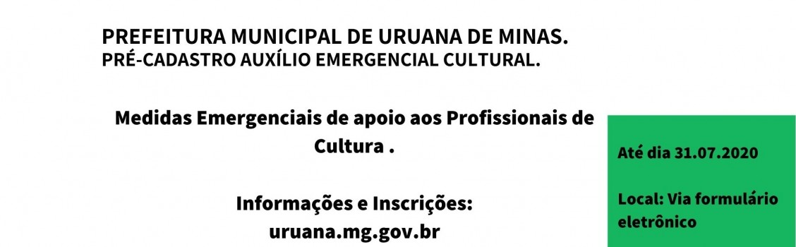 Auxilio Emergencial da Cultura (Lei Aldir Blanc) – Pré-Cadastro